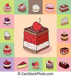 Template with different kinds of delishious desserts. Various taste. For restaurant design, posters, announcements, cafe menu etc.