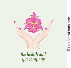 Template with female hands holding abstract pink orchid ...