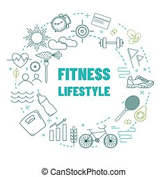 Template with fitness and healthy lifestyle line icons