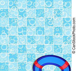 template with flying soap bubbles on tiled blue bathroom wall