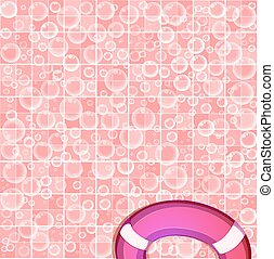 template with flying soap bubbles on tiled pink background