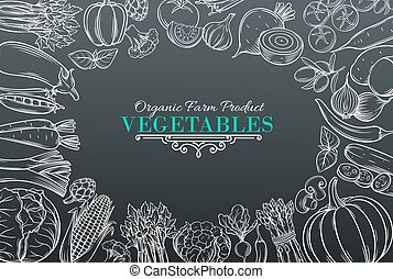 template with hand drawn vegetables