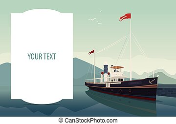 Template with large text space and retro ship