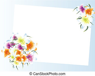 template with multicolored lily bouquet - Illustration of...