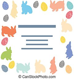 Template with rabbits and painted Easter eggs.