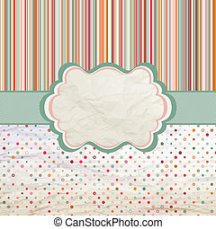 Template with retro sun burst and olka dot. EPS 8 - Vintage...