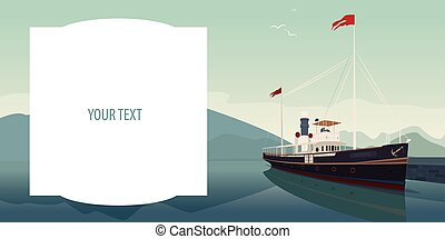 Template with text field and pleasure boat
