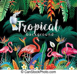 Tropical Flowers Leaves Flamingoes and Parrots