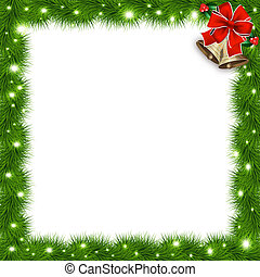 Template with vector christmas tree branches and space for...