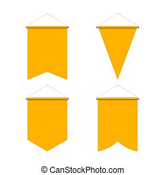 Pennant Set - Template Yellow Blank Realistic Pennant Set on...