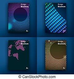 templates., diseño, conjunto, de, tela, correo, brochures.,...