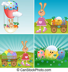 Templates for easter greetings card or postcard