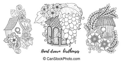 Home, sweet home invitation cards. Floral invites, boho style. Coloring book page.