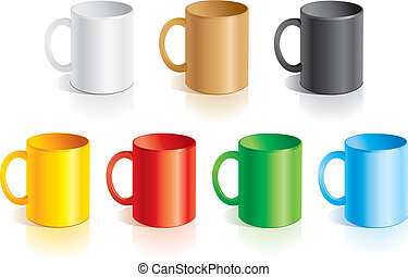 Templates mugs - Vector templates mugs of different colors