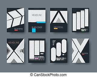 Templates of black covers for business reports, advertisements and brochures. Universal Design flyers in minimalistic style with a place for photos. Set