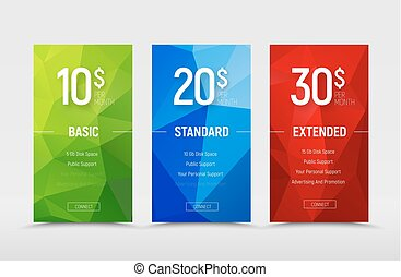 Templates of  price tables with polygonal abstract green, blue and red design elements.