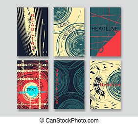 templates., set, kaart, grunge