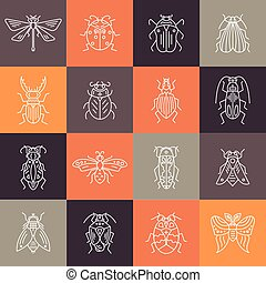 Templates with Bugs and insects in line style - Vector line...
