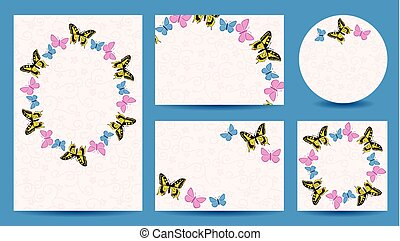 templates with butterflies for wedding - invitation vector cards