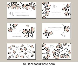 Templates with cherry bunches of doodle flowers.