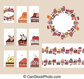 Templates with different  fruit cake slices. Different taste