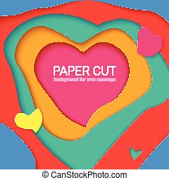Templates with paper cut in shapes of heart , modern abstract design. Vector 3D Illustration, papercut shapes with shadow. Realistic multi layers, carving of paper.
