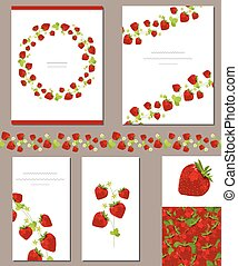 Templates with red ripe strawberries
