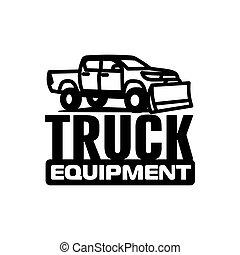 templatevector, ilustração, equipamento, caminhão camionete, logotipo