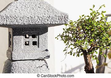 Temple and bonsai