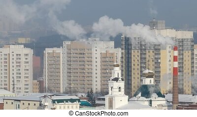 Temple and smoke. Ekaterinburg