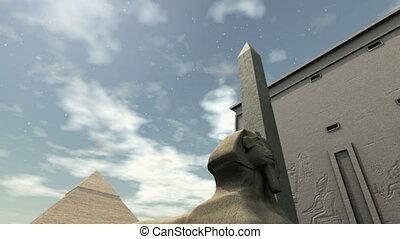 temple, animé, egypte, ancien, 4k