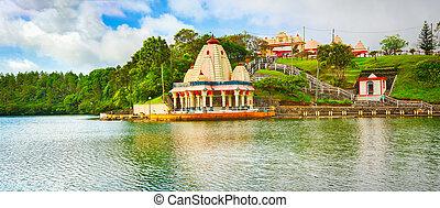 Ganga Talao. Mauritius. Panorama - Temple at Ganga Talao. ...