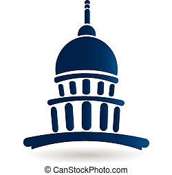 temple, bâtiment, capitole, logo, icône