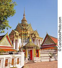 temple., bangkok, buddista, vecchio, tailandia
