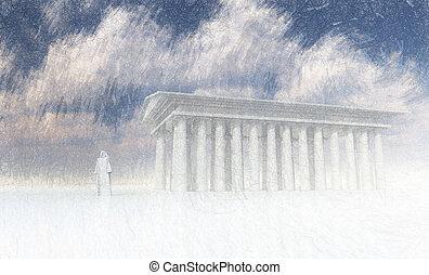 temple, blanc