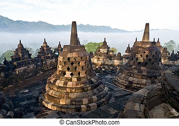 temple., borobudur, indonesia., yogyakarta, ジャワ