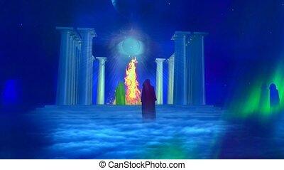 temple, brûler, ancien