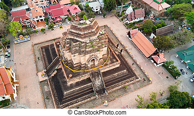 Temple Buddhist ruins view from sky