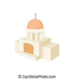 Temple building icon, cartoon style