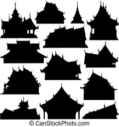 Editable vector silhouettes of temple buildings in Thailand