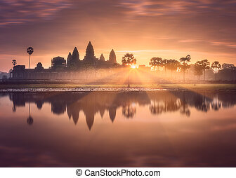 Temple complex Angkor Wat Siem Reap, Cambodia - Sunrise view...