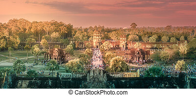 temple, complexe, wat angkor, siem, récolter, cambodge