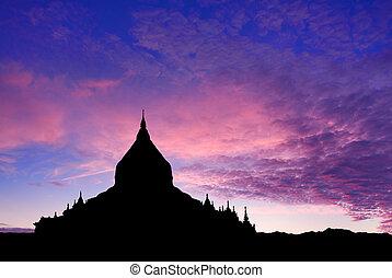 temple, coucher soleil