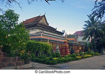 temple, dans, siem, récolter, cambodge