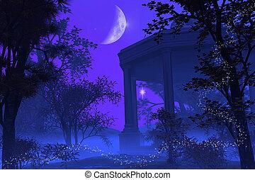 temple, de, diana, dans, les, clair lune