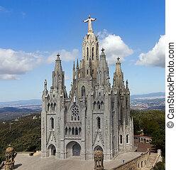 Temple de Sagrat Cor, Tibidabo. Barcelona landmark, Spain.