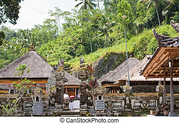 temple, decorated to holiday. Indonesia, island of Bali