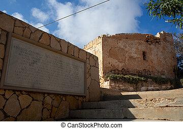 Temple dedicated to Andrea Anfosse di Castellaro, lampedusa...