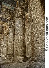 temple, egypte, dendera, ancien, intérieur