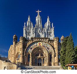 Temple Expiatori del Sagrat Cor on Tibidabo mountain in Barcelona, Spain